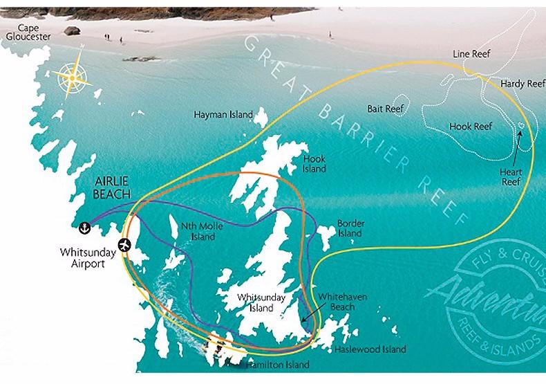 圣灵群岛惠森迪观光飞机看心型大堡礁 (60分钟含接送)